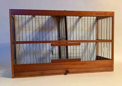 Vintage Wood and Wire Double Bird Cage 1920s/1930s including 5 glass feeders