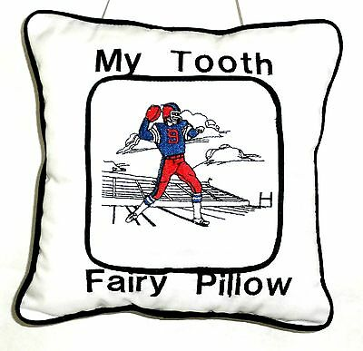 Tooth Fairy Pillow with embroidered Football Player On White Cotton New Handmade