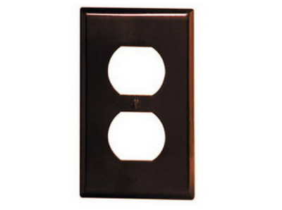 Hubbell P8X Marine Smooth Nylon Single Gang for Duplex Outlet Brown Wall Plate
