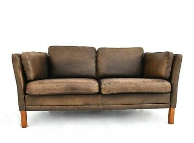 Vintage Danish Mogens Hansen Tan Brown Leather 2 Seater Sofa Midcentury 1960s