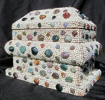 Collectible Vg Temple Shaped Wooden Encrusted Box With  308 Semi-Precious Stones