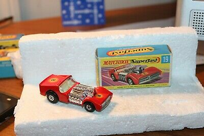 1970 Matchbox-Red Road Dragster #19 -With Original Box-Lesney -Hard To Find