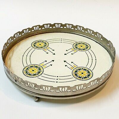 Vintage Art Deco Ceramic Footed Trivet Heat Mat with Pierce Work Metal Surround