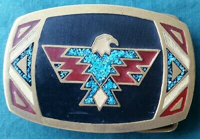 Brass Belt Buckle with Native American Eagle Design in Enamel and Turquoise