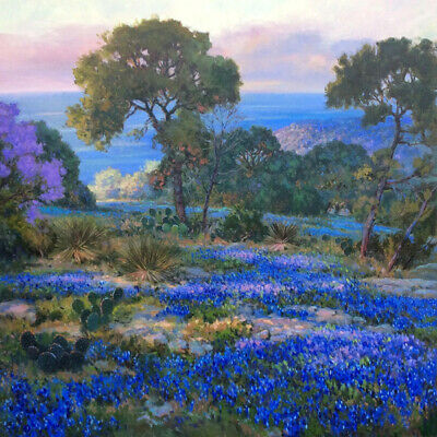 Bluebonnets at late afternoon Oil Painting HD Printed on canvas L1720