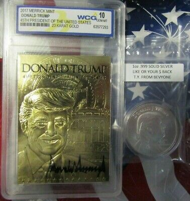 1 oz .999 Solid Silver Round, Donald Trump 45th President, & 23-K Gold Foil Card