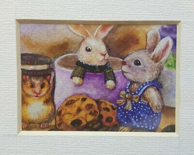 ACEO Print Frame Painting Art Gift Card Decor Rabbit Bunny Food Coffee Easter