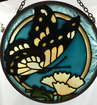Monarch Butterfly Stained Glass Round Suncatcher With Flowers