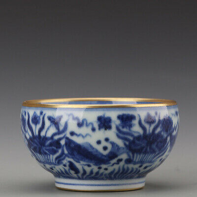 Ming Xuande mark China Antique Porcelain Blue & white gilt fish waterweeds Cup