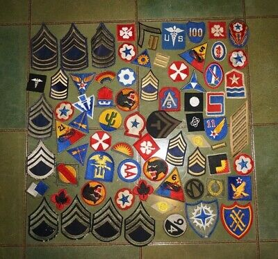 LOT OF ORIGINAL WW2 - 1950's U S  ARMORED DIVISION PATCHES