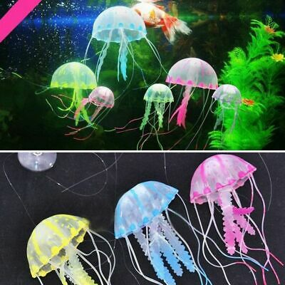 Aquarium New Artificial Jellyfish Ornament Silicone Glowing Effect Fish Tank