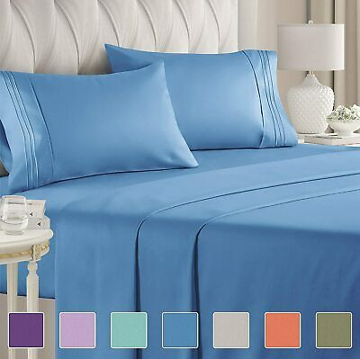 Hotel Luxury Pillowcase 1800 Count 4 Pcs Deep Pocket Bed Sheet Set Sheets R1