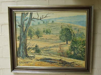 VINTAGE  AUSTRALIAN OIL PAINTING '' Pastoral Countryside by Murry Thomson Signed