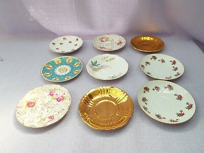 Vintage 9 Piece Mismatched China Saucers Tea Party Wedding