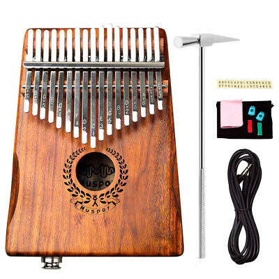 17 Keys EQ kalimba Acacia Thumb Piano Link Speaker Electric Pickup + Bag Cable#