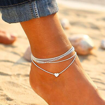Silver Heart Ankle Bracelet Multi Layer Womens Anklet Adjustable Chain Beach