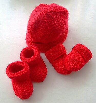 Baby Hand Knitted Hat, Mittens, Bootees Set, Red, 0-3 Months, New