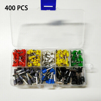 400Pcs Wire Copper Crimp Connector Insulated Cord Pin End Terminal Kit Hot