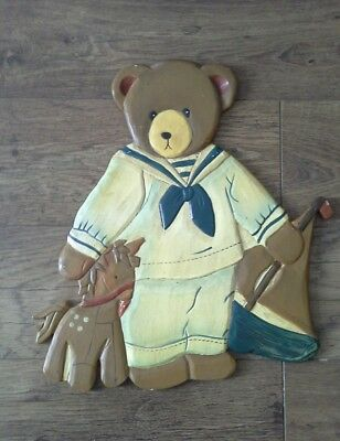 Vintage wooden pictures of teddy bears. Lovely For Baby Boys Bedroom X