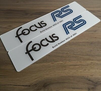 Pair of Focus RS MK1 Build Number Show Plates