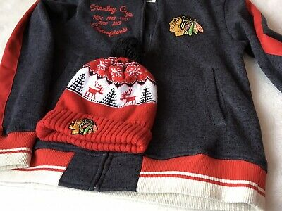 Men's Chicago BlackHawks NHL 5 Times Champions Jacket Size M With Hat ⭐️