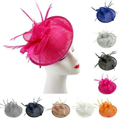 Large Sinamay Hat Flower Fascinator on Headband Weddings Ladies Day Royal Ascot