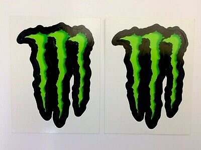 GENUINE 2x Monster Energy Small Stickers Decals Motorsport, Drift, Track, Mx