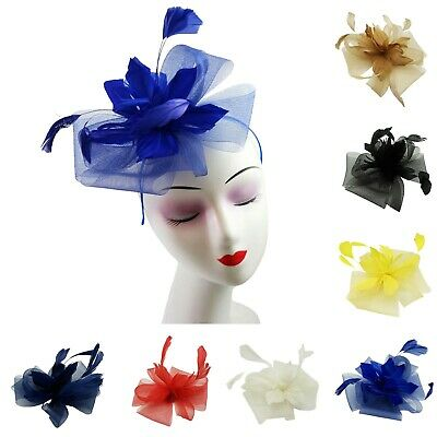 Ladies Large Wedding Fascinator Synthetic Curls and Feather Detail Headband New