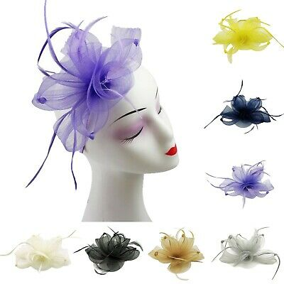 Large Bow Curls Fascinator Synthetic Feathers Wedding Headband New
