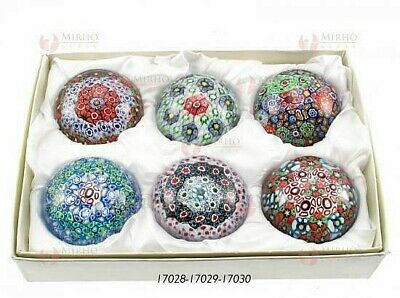 Set N.6 Favours Paperweight Cm.4, 5 Murano Glass with Murrine and Box 17028