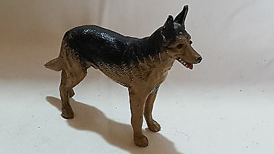 Cold painted vintage Victorian antique German Shepard Alsatian dog figurine
