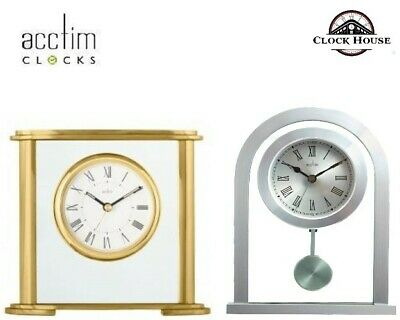 New Acctim Branded Mantel Clock Polished Gold Finish Or Silver Metal Glass Clock