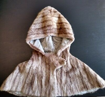 Vintage Real Genuine Fur Girls Childs Hooded Shawl Stole Cape c. 1950s 1960s