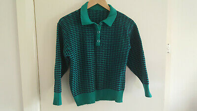 Green and blue pure wool jumper with collar, size 8 to 10