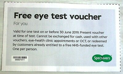 9f6163291b03 1 Specsavers Eye Test Voucher Coupon Valid to 30 June 2019 authentic genuine