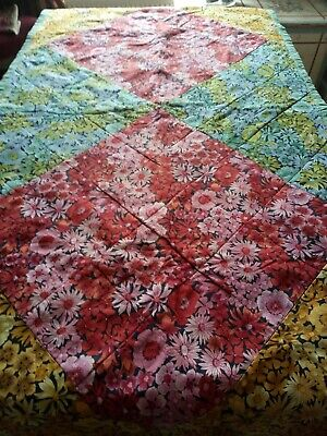 Vintage patchwork single bed cover throw quilt linen union floral fabric
