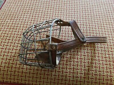 Vintage Greyhound Muzzle Wire & Leather Strap Cage
