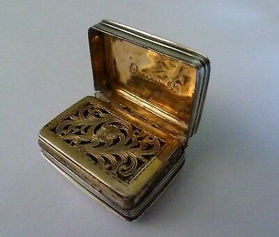 George IV English Sterling Silver Vinaigrette by T & W Simpson 1823