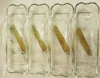 Corn On The Cob Pressed Clear Glass Dishes Footed Painted Lot Of 4 Vintage EUC