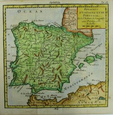 Antique Map of Spain and Portugal by Robert de Vaugondy 1750