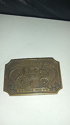Vintage Authentic 1973 Wells Fargo Bank Brass Belt Buckle SF CA Stage Coach Bag