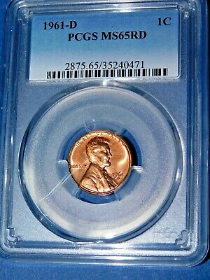 1961-D 1C RD Lincoln Memorial Cent-PCGS MS65RD--207-1
