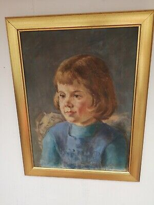 Stunning Vintage Oil Portrait of Young Girl Signed and Framed