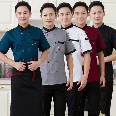 Unisex Chef Jacket Coat Short Sleeves Summer Restaurant Hotel Work Uniform