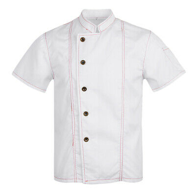 Women Men's Chef Jacket Topstitched Short Sleeves Food Service Chef Uniform