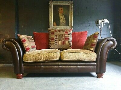 4008. Superb Perez Chesterfield Grande 2 Seater Sofa Leather & Fabric Vintage