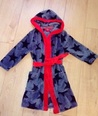 Boys TU Grey/Red Star Print Soft Touch Dressing Gown Age 4/5