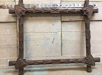Antique Victorian Picture Frame Shield Corners Oak? Walnut? Wood