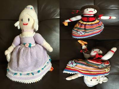 "Hand knitted topsy turvey doll ""Cinderella & Cinders ""  30cm high"