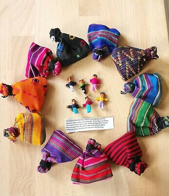 Guatemalan Worry Dolls, in a Striped Pouch, Wholesale Of 12,Fair Trade,Tiny Doll